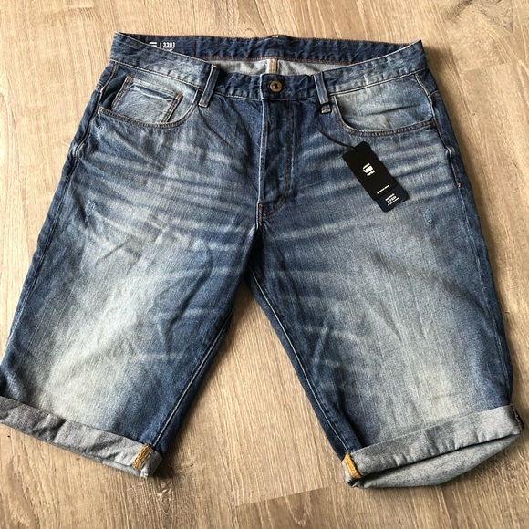 G Star Raw 3301 Sato Denim Shorts For Men Size 32 Brand New With Tags